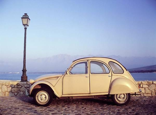 Calvi Photograph - Car On Bridge By Lamppost, Calvi by Otto Stadler