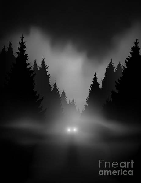 Wall Art - Digital Art - Car On Dark Road At Night Through Misty by Andreiuc88