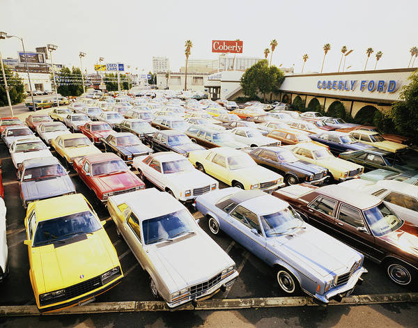 Photograph - Car Park In Front Of Car Showroom by Tom Kelley Archive