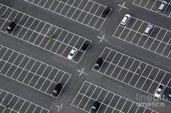 Wall Art - Photograph - Car Park Seen From Above With Many by Andreas Altenburger