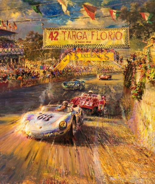 Wall Art - Painting - Car Race by ArtMarketJapan