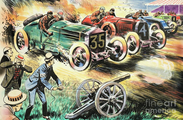 Wall Art - Painting - Car Race by Unknown