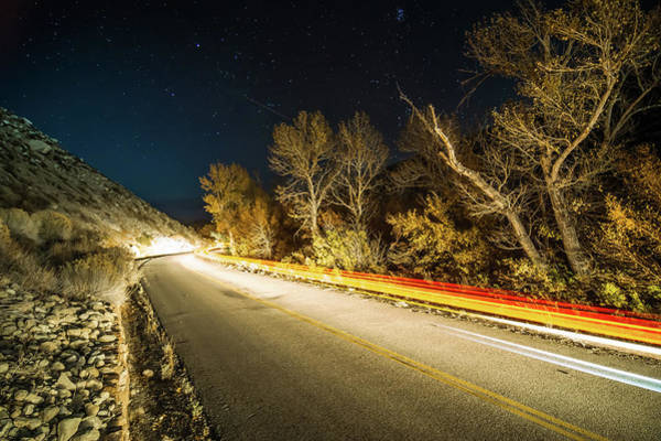 Photograph - Car Trails On Road At Night In Sierra Mountains California by Alex Grichenko