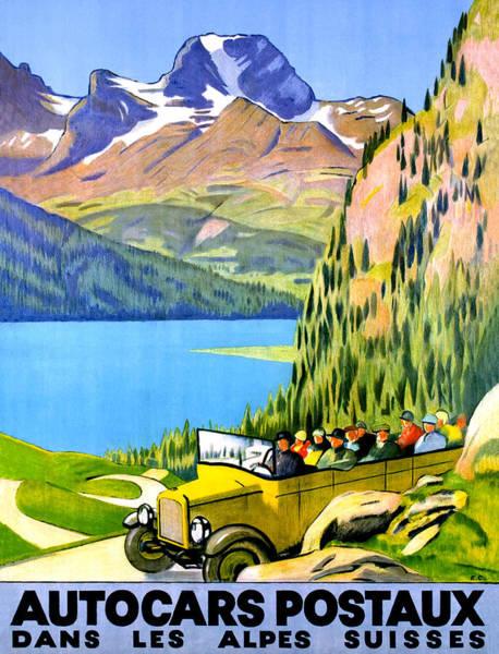Wall Art - Digital Art - Car Travel On Swiss Alps by Long Shot