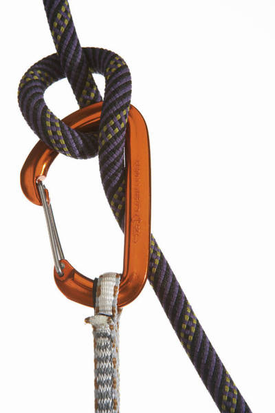 Climbing Photograph - Carabiner Attached To Climbing Rope by Thomas Northcut