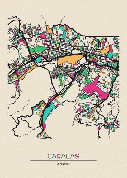 Wall Art - Drawing - Caracas, Venezuela City Map by Inspirowl Design