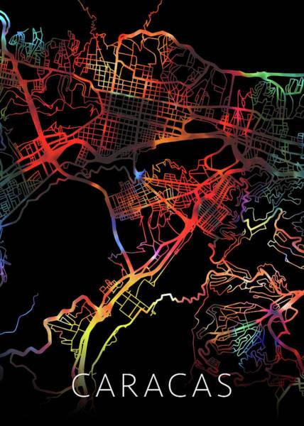 South America Mixed Media - Caracas Venezuela City Street Map Watercolor Dark Mode by Design Turnpike