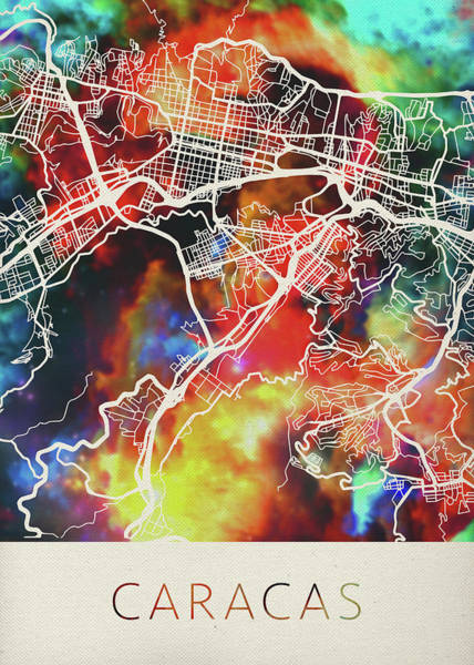 South America Mixed Media - Caracas Venezuela Watercolor City Street Map by Design Turnpike
