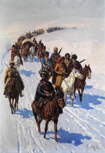 Wall Art - Painting - Caravan Advancing Through The Snow, Cossacks by Franz Roubaud