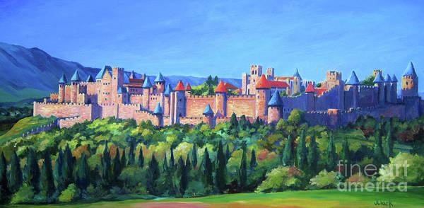 Fortified Wall Art - Painting - Carcassone   by John Clark