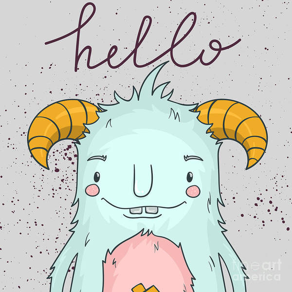 Wall Art - Digital Art - Card Template With Cartoon Monster by Maria Sem