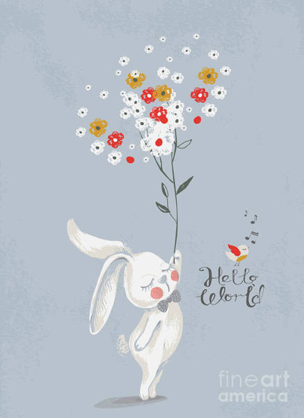 Celebration Digital Art - Card With Cute Rabbitbunny With A by Eteri Davinski