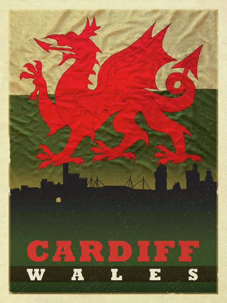 Wall Art - Mixed Media - Cardiff Wales World City Flag Skyline by Design Turnpike