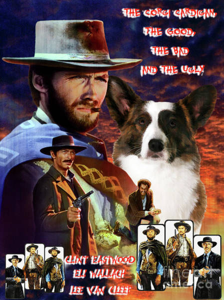 Wall Art - Painting - Cardigan Welsh Corgi  Art The Good, The Bad And The Ugly Movie Poster by Sandra Sij