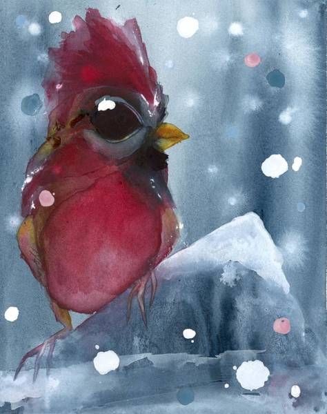 Painting - Cardinal In The Evening Snow by Dawn Derman