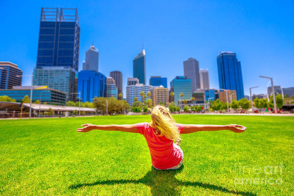 Photograph - Carefree Woman In Perth Skyline by Benny Marty