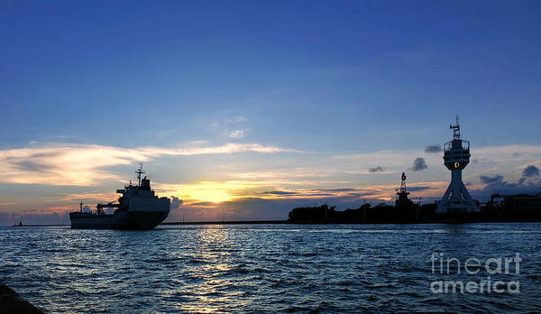 Photograph - Cargo Ship Leaves Port At Dusk by Yali Shi