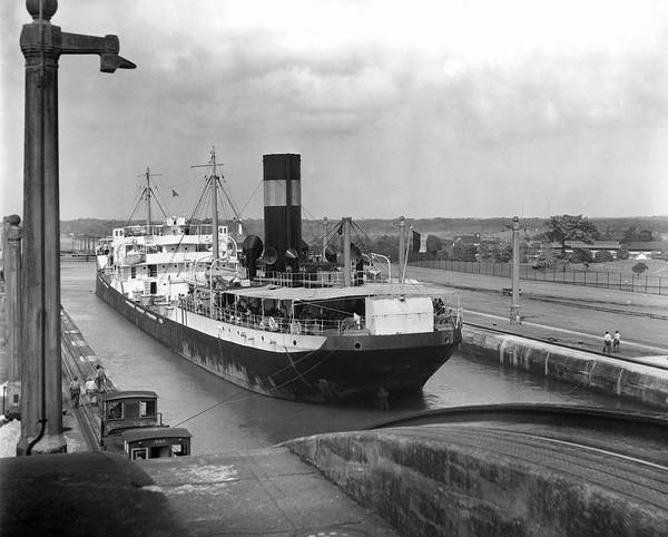 Cargo Ship Photograph - Cargo Ship, Panama Canal by George Marks