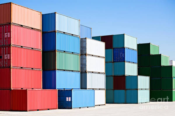 Wall Art - Photograph - Cargo Shipping Containers Stacked At by Sascha Burkard