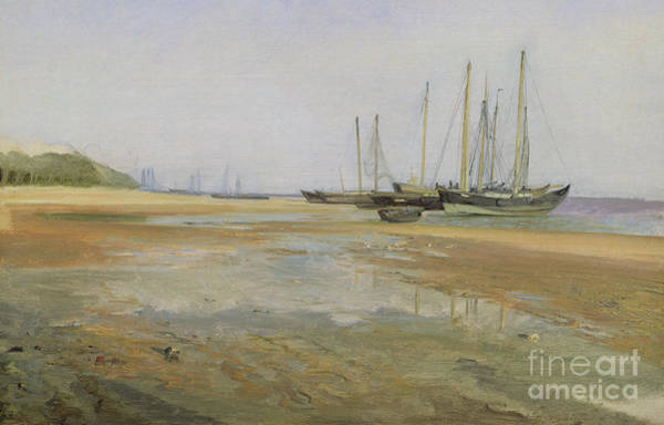 Wall Art - Painting - Cargo Ships On The Sands Of The Elbe by Johann Martin Gensler