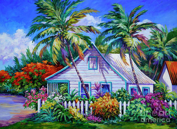 Wall Art - Painting - Caribbean Cottage With Picket Fence by John Clark