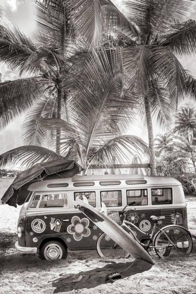 Photograph - Caribbean Island Surf Mood  In Sepia Tones by Debra and Dave Vanderlaan