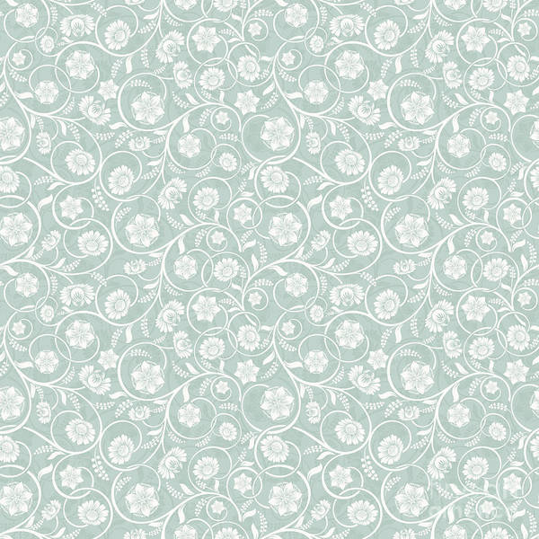 Digital Art - Caribbean Teal Soft Pastel Green Floral Surface Pattern by Sharon Mau