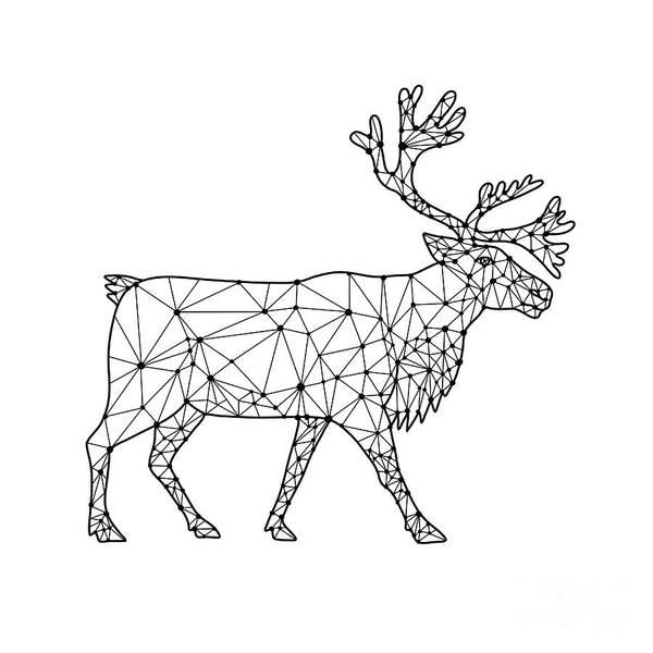 Wall Art - Digital Art - Caribou Side Nodes Black And White by Aloysius Patrimonio