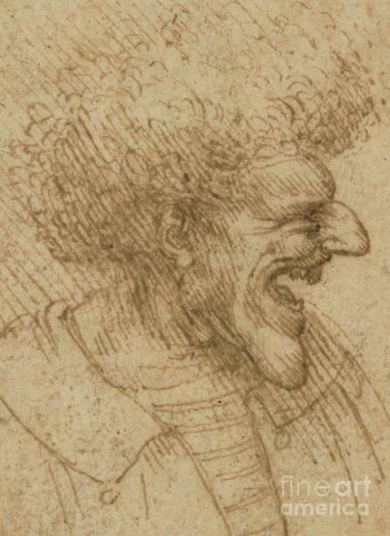 Wall Art - Drawing - Caricature Of A Man With Bushy Hair by Leonardo Da Vinci