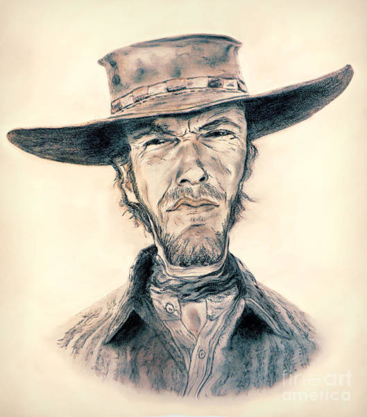 Blondie Digital Art - Caricature Of Clint Eastwood As Blondie In The Good The Bad The Ugly by Jim Fitzpatrick