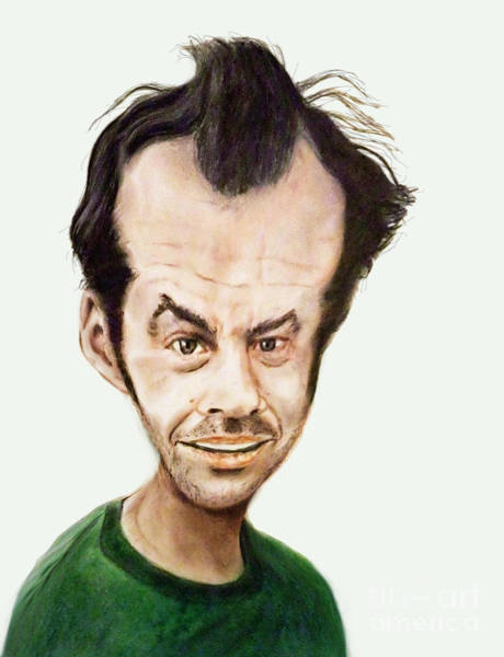 Wall Art - Drawing - Caricature Of Jack Nicholson In One Flew Over The Cuckoo's Nest by Jim Fitzpatrick