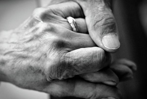 Senior Adult Photograph - Caring Hand On Senior Hand by Steven Brisson Photography