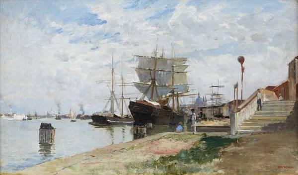 Wall Art - Painting - Carl Skanberg - Venedigs Hamn  Venice Port  by Carl Skanberg