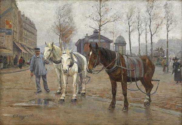 Wall Art - Painting - Carl Tragardh 1861-1899 Horses On Paris Street by Celestial Images