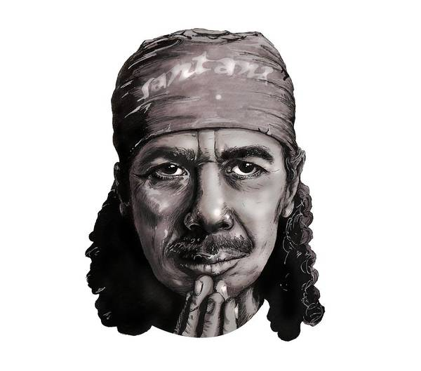 Mariachi Drawing - Carlos Santana by Ivan Florentino Ramirez