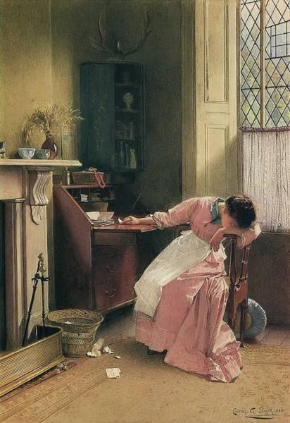 Wall Art - Painting - Carlton Alfred Smith British, 1853-1946,  Recalling The Past , 1888 by Carlton Alfred Smith