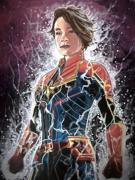 Painting - Carly Captain Marvel by Joel Tesch