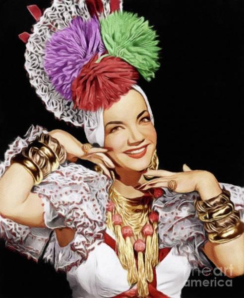 Carmen Wall Art - Painting - Carmen Miranda, Vintage Actress by John Springfield