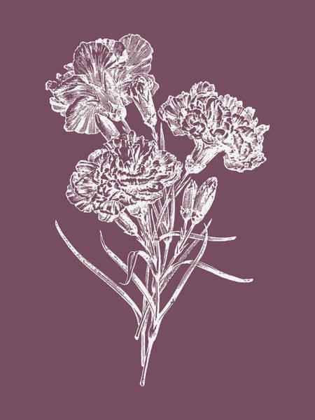Bouquet Mixed Media - Carnations Purple Flower by Naxart Studio