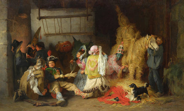 Carnival Painting - Carnival In Brittany by Frederick Arthur Bridgman