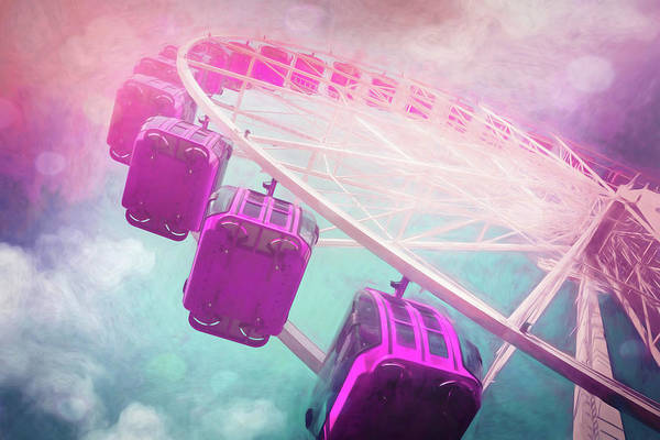Fairground Photograph - Carnival Magic Pastel Colored Ferris Wheel by Carol Japp