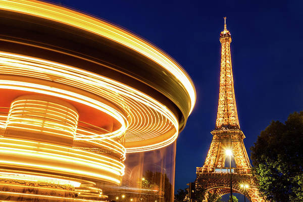 Wall Art - Photograph - Carousel And The Eiffel Tower by Andrew Soundarajan