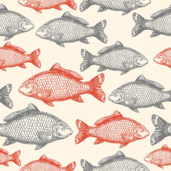 Engraved Digital Art - Carp Fish Asian Style Seamless Pattern by Adehoidar