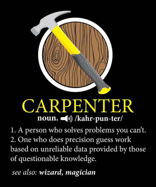 Toolshed Wall Art - Digital Art - Carpenter Definition Noun See Also Wizard Magician by Phoxy Design