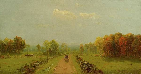 Wall Art - Painting - Carriage On A Country Road by Sanford Robinson