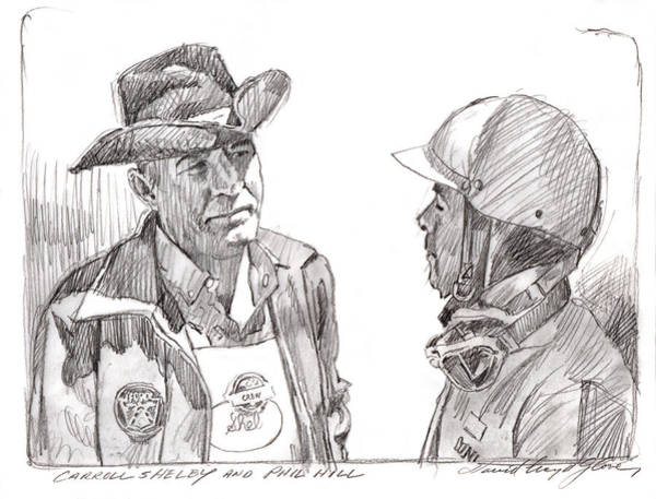 Drawing - Carroll Shelby And Phil Hill by David Lloyd Glover