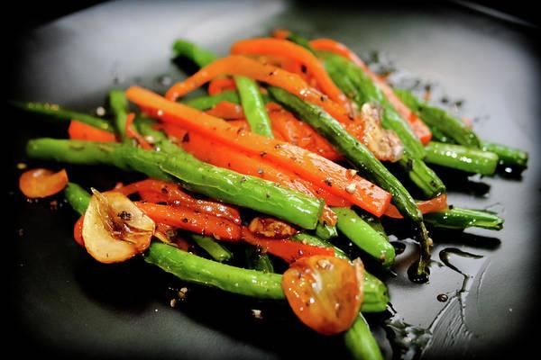 Stir Photograph - Carrot And Green Beans Stir Fry by Iris Filson