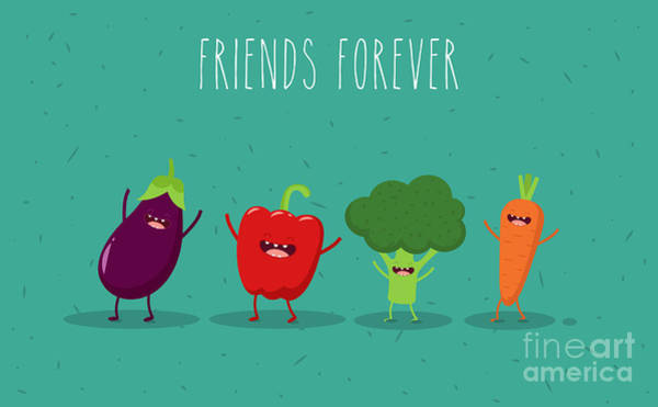 Wall Art - Digital Art - Carrot, Broccoli, Pepper, Eggplant by Serbinka