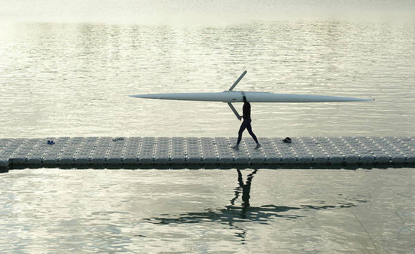 Wetsuit Wall Art - Photograph - Carrying Single Scull by Lynn Koenig