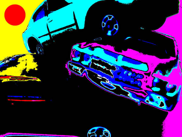 Digital Art - Cars In The Sun by Artist Dot